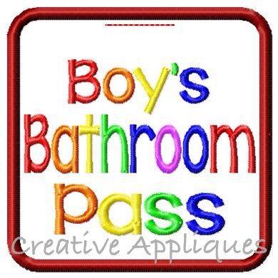 Boys Bathroom Pass Creative Appliques