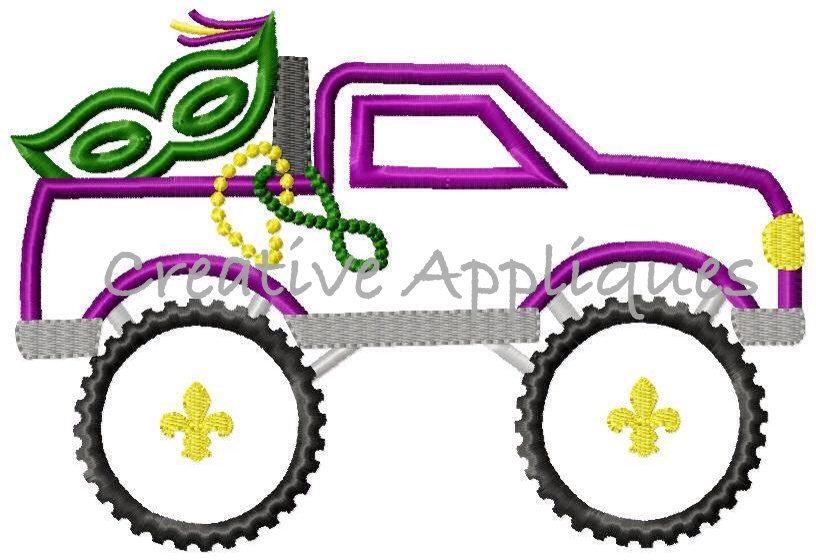 mardi gras monster truck applique. Black Bedroom Furniture Sets. Home Design Ideas