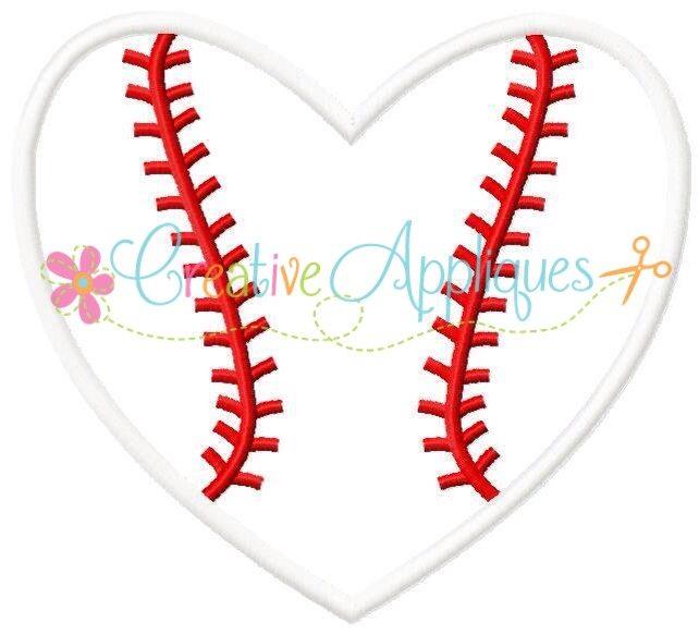 Baseball Softball Heart Applique