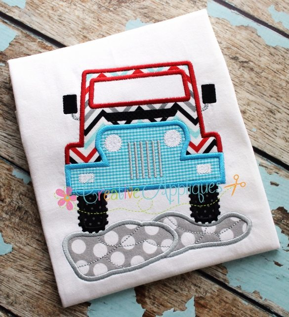 Jeep on the rocks applique