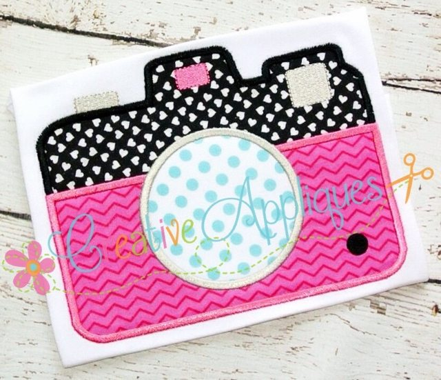 Monogram camera applique - Applique camera bambini ...