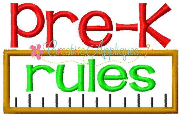 pre k kindergarten rules applique
