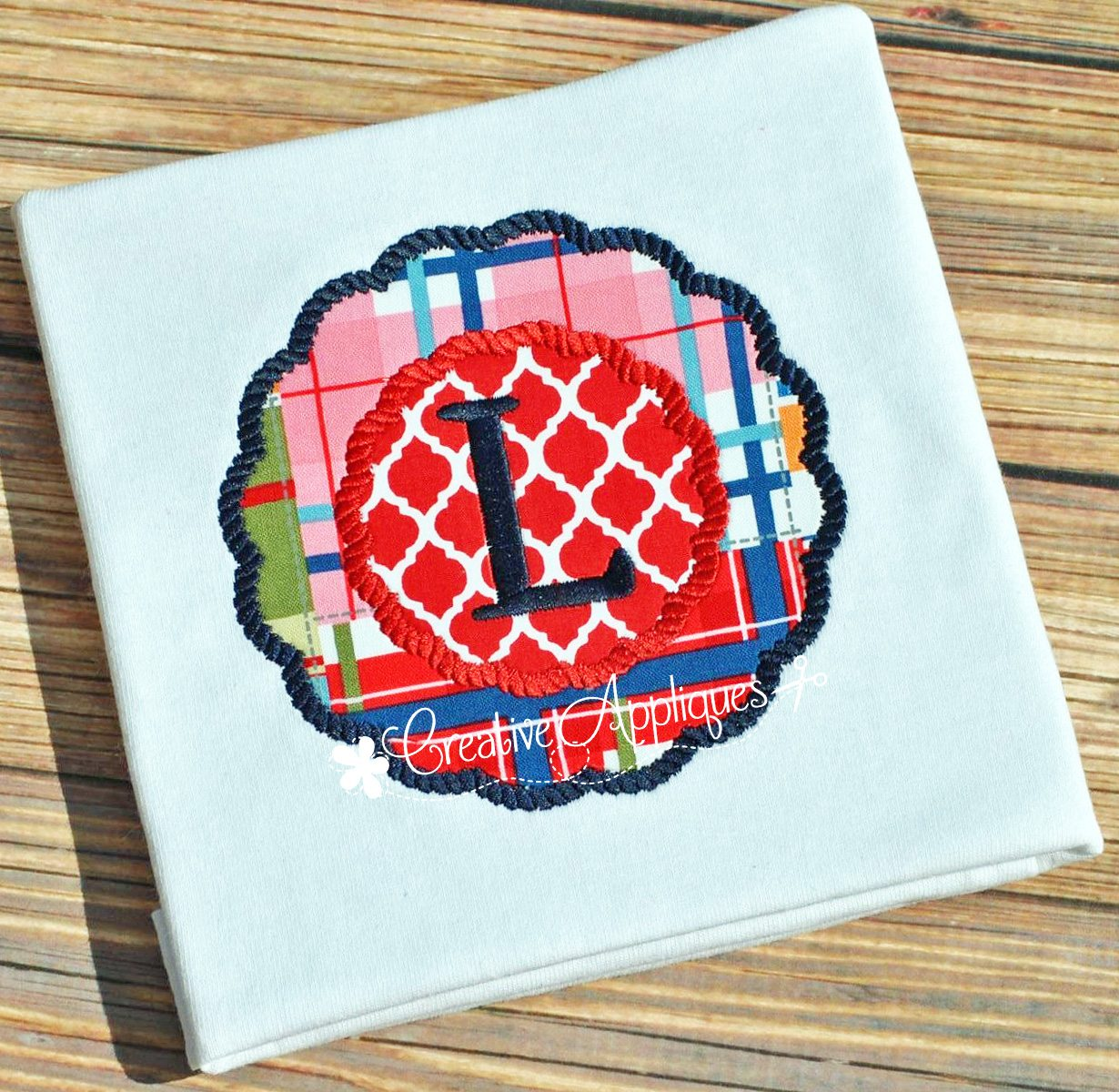 rope stitch monogram frame applique - Monogram Picture Frame
