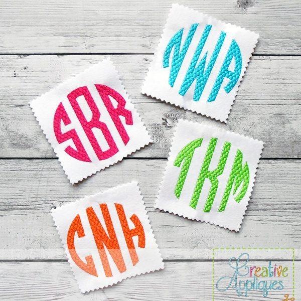 Natural circle honeycomb monogram embroidery alphabet font