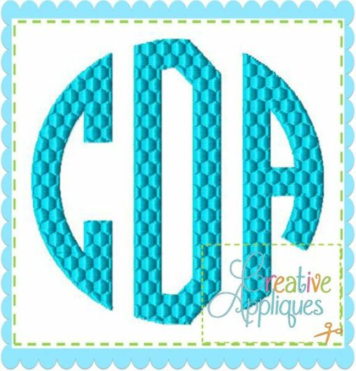 Natural circle honeycomb monogram embroidery alphabet font