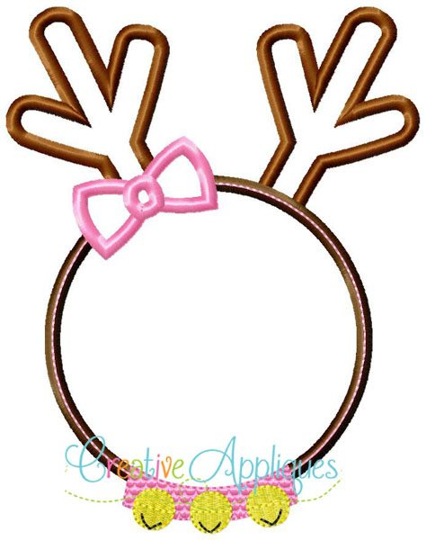Girl Reindeer Applique Reindeer Girl Monogram