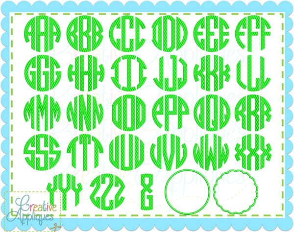 Circle monogram embroidery font download