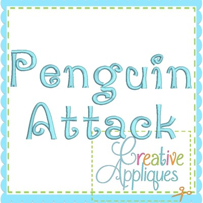 Penguin-Attack-embroidery-font