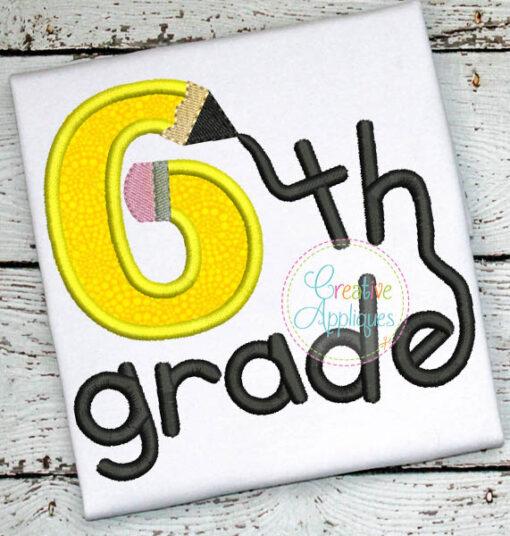 sixth-6th-grade-pencil-embroidery-applique-design