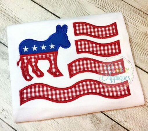 democratic-flag-donkey-embroidery-applique-design