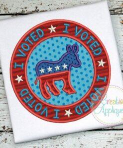 i-voted-donkey-democratic-embroidery-applique-design
