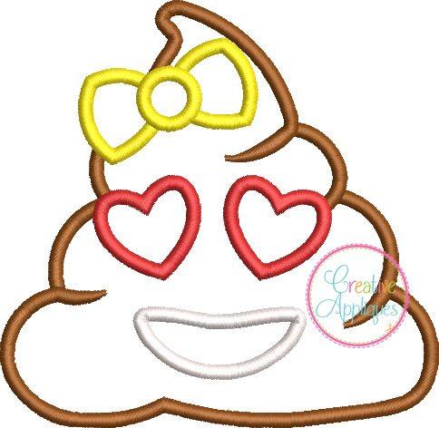 Poop Emoji Girl applique embroidery design