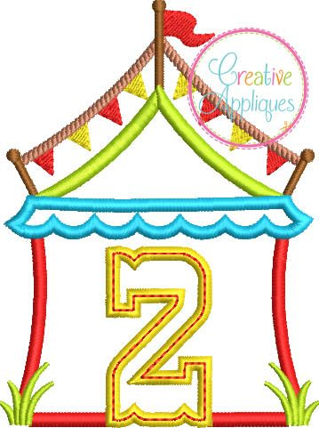 circus tent 2 birthday number-applique embroidery design