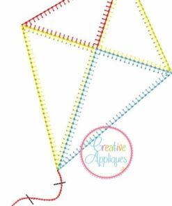 Kite vintage stitch embroidery applique design