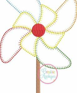 Pinwheel vintage stitch embroidery applique design