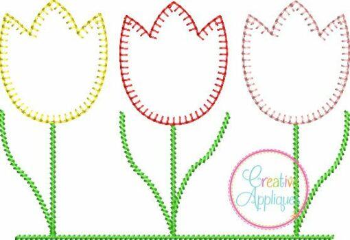 Three Tulips Blanket Stitch Embroidery Applique Design