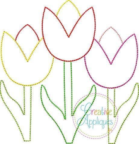 Tulip Trio Vintage Stitch embroidery applique design