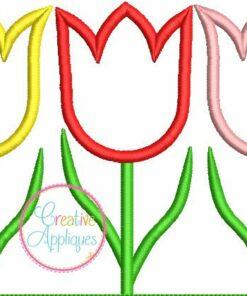 three tulip trio embroidery applique design