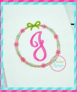 spring wreath monogram alphabet embroidery alphabet font