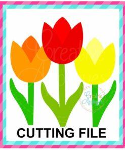 Three Tulip Trio SVG cut file